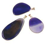 Agat pendants bizhuteri, Blue agat, Shape përziera, natyror, asnjë, 37-51mm, : 5-8mm, 20PC/Shumë,  Shumë