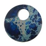 Pendants gur i çmuar bizhuteri, Impression Jasper, Round Flat, i lyer, asnjë, 30x30x6mm, : 9mm, 10PC/Shumë,  Shumë