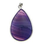 Agat pendants bizhuteri, Purple agat, Lot, ngjyrë platin praruar, asnjë, 27x37x8mm, : 5mm, 10PC/Shumë,  Shumë