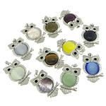 Pendants përziera gur i çmuar, with Tunxh, Buf, ngjyrë platin praruar, me diamant i rremë, 40x63x9mm, : 4x7mm, 10PC/Shumë,  Shumë