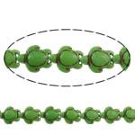 Bruz Beads, Bruz sintetike, Breshkë, i lyer, asnjë, e gjelbër, 14x6.5mm, : 1.5mm, : 16Inç, 25PC/Fije floku,  16Inç,