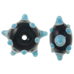 Beads Lampwork me gunga, Rondelle, punuar me dorë, e zezë, 19.50x19x10mm, : 3mm, 100PC/Qese,  Qese