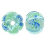 Beads dorë Lampwork, Lule, punuar me dorë, asnjë, asnjë, 12x12x9mm, : 2mm, 100PC/Qese,  Qese