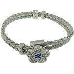 Cord Bracelets PU, Shape Tjera, asnjë, me diamant i rremë & 2-fije floku, argjend, 18x18mm, 6x12mm, 4x12mm, 4mm, :8.5Inç, 10Fillesat/Shumë,  Shumë