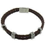 Cord Bracelets PU, Shape Tjera, asnjë, 2-fije floku, bojë kafe, 18x12mm, 6x12mm, 4x12mm, 4mm, :9Inç, 10Fillesat/Shumë,  Shumë