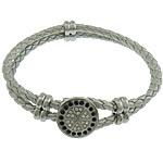 Cord Bracelets PU, Shape Tjera, asnjë, me diamant i rremë & 2-fije floku, argjend, 17x17mm, 6x12mm, 4mm, :8.5Inç, 10Fillesat/Shumë,  Shumë
