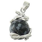 Pendants gur i çmuar bizhuteri, Snowflake Obsidian, with Tunxh, Dragua, ngjyrë platin praruar, asnjë, 21x21mm, : 4x6mm, 30PC/Shumë,  Shumë