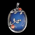 Deti Pendants opal, Deti Opal, with Cats Eye & Tunxh, Oval Flat, ngjyrë platin praruar, asnjë, asnjë, 34x44x14mm, : 4x6mm, 10PC/Shumë,  Shumë