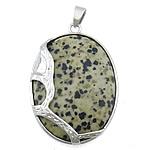 Pendants gur i çmuar bizhuteri, Dalmatian, with Tunxh, Oval Flat, ngjyrë platin praruar, asnjë, 33x43x10mm, : 4x6mm, 20PC/Shumë,  Shumë