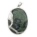 Pendants gur i çmuar bizhuteri, Jasper Kambaba, with Tunxh, Oval Flat, ngjyrë platin praruar, asnjë, 33x43x10mm, : 4x6mm, 20PC/Shumë,  Shumë