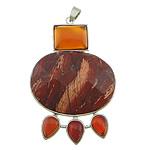 Pendants gur i çmuar bizhuteri, Red Jasper, with Red agat & Tunxh, Shape Tjera, ngjyrë platin praruar, faceted, 42x60x8mm, : 4x7mm, 10PC/Shumë,  Shumë