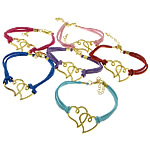 Velvet Bracelets Fashion Cord, Alloy zink, Zemra Flat, ngjyrë ari praruar, ngjyra të përziera, , nikel çojë \x26amp; kadmium falas, 35x25x2mm, 2.5mm, :7Inç, 50Fillesat/Shumë,  Shumë