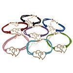 Velvet Bracelets Fashion Cord, Alloy zink, Zemra Flat, ngjyra rose ari praruar, ngjyra të përziera, , nikel çojë \x26amp; kadmium falas, 35x25x2mm, 2.5mm, :7Inç, 50Fillesat/Shumë,  Shumë