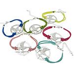 Velvet Bracelets Fashion Cord, Alloy zink, Round Flat, Ngjyra argjend praruar, ngjyra të përziera, , nikel çojë \x26amp; kadmium falas, 38x36x2mm, 2.5mm, :7Inç, 50Fillesat/Shumë,  Shumë