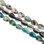 Goldsand & Silberfolie Lampwork Perlen, Tropfen, handgemacht, Goldsand und Silberfolie, gemischte Farben, 10x13.5mm, Bohrung:ca. 1-1.5mm, Länge:ca. 14.5 ZollInch, ca. 20SträngeStrang/Tasche, verkauft von Tasche
