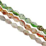 Lampwork Millefiori Fetë Beads, Gjashtëkëndësh, punuar me dorë, me fetë Millefiori & rërë ari dhe argjendi me letër varaku, ngjyra të përziera, 10x12mm, : 1-1.5mm, : 15.7Inç, 20Fillesat/Qese,  Qese