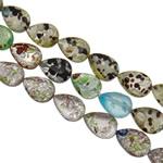 Lampwork Millefiori Fetë Beads, Lot, punuar me dorë, me fetë Millefiori & rërë ari dhe argjendi me letër varaku, ngjyra të përziera, 13x18x6.50mm, : 1-1.5mm, : 15.3Inç, 20Fillesat/Qese,  Qese