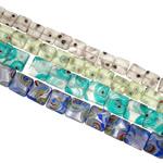 Petë Silver Beads Lampwork, Katror, punuar me dorë, petë argjendi, ngjyra të përziera, 14-18mm, : 1-1.5mm, : 15.3Inç, 20Fillesat/Qese,  Qese