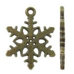 Pendants aliazh zink Krishtlindjeve, Alloy zink, Flok dëbore, Ngjyra antike bronz i praruar, asnjë, asnjë, , nikel çojë \x26amp; kadmium falas, 14.50x19x1.50mm, : 1.5mm, 1250PC/KG,  KG