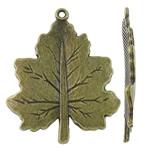 Pendants Zink Alloy Leaf, Alloy zink, Pemë, Ngjyra antike bronz i praruar, asnjë, asnjë, , nikel çojë \x26amp; kadmium falas, 23.50x29x2mm, : 1.5mm, 370PC/KG,  KG