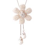 Zinxhiri gjerdan triko, Glass Pearl, with Alloy zink, Lule, ngjyrë ari praruar, me diamant i rremë, asnjë, 45mm, : 31.5Inç, 3Fillesat/Shumë,  Shumë