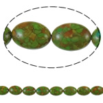 Bruz Beads, Bruz Mozaiku, Oval Flat, sintetik, asnjë, e gjelbër, 13x18x7mm, : 1mm, :15.7Inç, 10Fillesat/Qese,  Qese