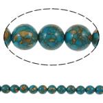 Bruz Beads, Bruz Mozaiku, Round, sintetik, asnjë, blu, 10mm, : 1mm, :15.7Inç, 10Fillesat/Qese,  Qese
