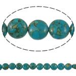 Bruz Beads, Bruz Mozaiku, Round Flat, sintetik, asnjë, blu, 10x6mm, : 1mm, :15.7Inç, 10Fillesat/Qese,  Qese