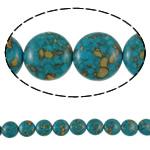 Bruz Beads, Bruz Mozaiku, Round Flat, sintetik, asnjë, blu, 14x8mm, : 1mm, :15.7Inç, 10Fillesat/Qese,  Qese