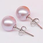 Një palë vathë Pearl ujërave të ëmbla, Pearl kulturuar ujërave të ëmbla, with 925 Sterling Silver, Round, natyror, vjollcë, 10-10.5mm,  Palë