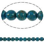 Bruz Beads, Bruz Gold venë, Round, sintetik, asnjë, blu, 6mm, : 1mm, : 15.7Inç, 10Fillesat/Qese,  Qese
