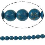 Bruz Beads, Bruz Gold venë, Round, sintetik, asnjë, blu, 14mm, : 1mm, : 15.7Inç, 10Fillesat/Qese,  Qese