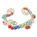 Bracelets Crystal, Kristal, with Hekur, Rondelle, ngjyrë ari praruar, faceted, ngjyra të përziera, 6x4mm, 20mm, : 6.5Inç, 20PC/Shumë,  Shumë