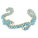 Bracelets Crystal, Kristal, with Hekur, Rondelle, ngjyrë ari praruar, faceted, Akuamarin, 20mm, 6x4mm, :6.5Inç, 20PC/Shumë,  Shumë