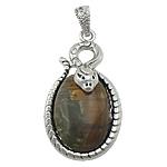 Pendants gur i çmuar bizhuteri, Mudline Stone, with Tunxh, Oval Flat, ngjyrë platin praruar, me diamant i rremë, 24.50x39x10mm, : 4x6mm, 20PC/Shumë,  Shumë