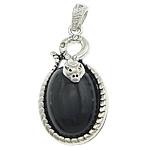 Pendants Zi agat, Black agat, with Tunxh, Oval Flat, ngjyrë platin praruar, me diamant i rremë, 24.50x39x10mm, : 4x6mm, 20PC/Shumë,  Shumë