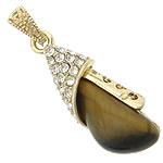 Syri Tiger Pendants, with Tunxh, Lot, ngjyrë ari praruar, me diamant i rremë, 14x37x10mm, : 4x6mm, 20PC/Shumë,  Shumë
