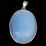 Deti Pendants opal, Deti Opal, with Tunxh, Oval Flat, ngjyrë platin praruar, asnjë, asnjë, 24x32x8mm, : 4x5mm, 20PC/Shumë,  Shumë