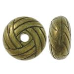 Zinklegierung flache Perlen, Rondell, antike Bronzefarbe plattiert, frei von Nickel, Blei & Kadmium, 10x5mm, Bohrung:ca. 1.5mm, ca. 550PCs/kg, verkauft von kg