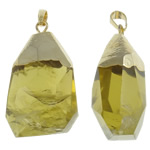 Pendants Natyrore kuarc, Lemon kuarc, with Alloy zink, Nuggets, ngjyrë ari praruar, faceted, 26x53x19mm, : 10x6mm, 20PC/Shumë,  Shumë