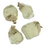 Pendants Natyrore kuarc, Lemon kuarc, with Alloy zink, Shape përziera, ngjyrë ari praruar, asnjë, 24x43-24x48mm, : 10x6mm, 20PC/Shumë,  Shumë