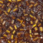 Silver Beads rreshtuar qelqi farë, Seed Glass Beads, Tub, argjend-rreshtuan, asnjë, ngjyrë kafe, 2.5x3mm, : 1mm, 10000PC/Qese,  Qese