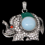 Deti Pendants opal, Deti Opal, with Alloy zink, Elefant, ngjyrë platin praruar, smalt & me diamant i rremë, asnjë, 46x38x10mm, : 4x7mm, 20PC/Shumë,  Shumë