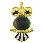 E gjelbër varëse agat, Jeshile agat, with Alloy zink, Buf, ngjyrë ari praruar, smalt & me diamant i rremë, 27x49x9mm, : 4x7mm, 20PC/Shumë,  Shumë