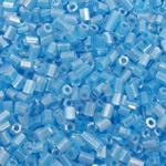 Lustered Glass Beads farë, Seed Glass Beads, Tub, famë, i tejdukshëm, dritë blu, 2x2mm, : 1mm, 30000PC/Qese,  Qese