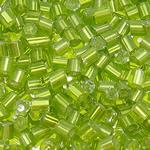 Silver Beads rreshtuar qelqi farë, Seed Glass Beads, Tub, argjend-rreshtuan, asnjë, mollë jeshile, 4x3.5mm, : 1.5mm, 5000PC/Qese,  Qese