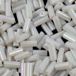 Rainbow Seed Glass Beads, Tub, ylber, ngjyra të forta, e bardhë, 2x5mm, : 1mm, 15000PC/Qese,  Qese