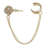 Earring Cuff, zinc alloy with iron chain & stainless steel post & rhinestone, gold color plated, nickel, lead & cadmium free, 12.5x108mm, Sold by PC