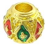 Beads bizhuteri bronzi, Tunxh, Daulle, ngjyrë ari praruar, smalt & vrimë e madhe, asnjë, , nikel çojë \x26amp; kadmium falas, 8x7mm, : 3mm, 100PC/Shumë,  Shumë