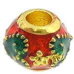 Beads bizhuteri bronzi, Tunxh, Daulle, ngjyrë ari praruar, smalt, asnjë, , nikel çojë \x26amp; kadmium falas, 9x9x7mm, : 3mm, 100PC/Shumë,  Shumë